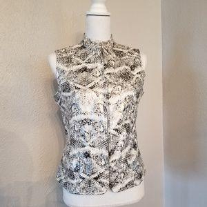Chico's Snakeskin Print Vest Sz 0 (6-8) Blk/White